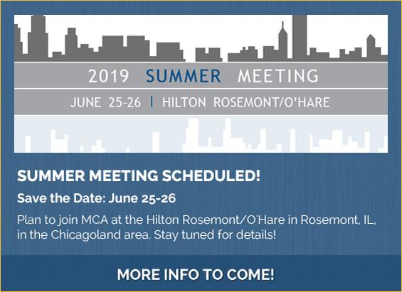 MCA's 2019 Summer Meeting Has Been Scheduled